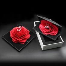 Свадебный брак вращающаяся Роза кольцо коробка Прекрасный бархат Свадьба обручение коробка для кольца хранения ювелирных изделий Дисплей Подарочная коробка держатель