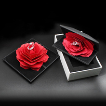 Wedding Marriage Rotating Rose Ring Box Lovely Velvet Wedding Engagement Box For Ring Jewelry Storage Display Gift Box Holder