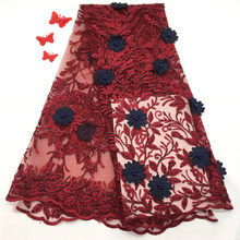 New Design African Lace Fabric 3D Flowers Beaded Tulle Good Quality Nigerian HX1170-2