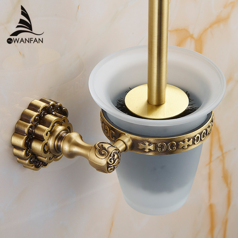 toilet brush holders antique brass toiletborstel clean brushes with holder set carving home deco. Black Bedroom Furniture Sets. Home Design Ideas