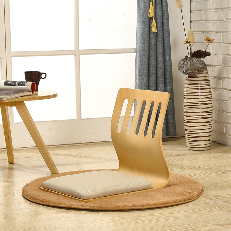 Купить с кэшбэком 4pcs/lot Japanese Style Legless Chair Thick Cushion Seat Living Room Furniture Asian Tatami Floor Zaisu Chair Natural Finish
