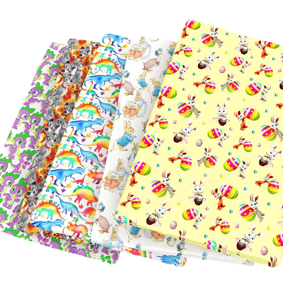 100x110cm Cotton Cute Plain Cartoon Colorful Little Dinosaur Fabric ...