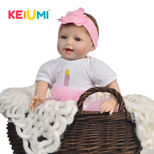 KEIUMI 22 Inch Soft Silicone Reborn Baby Dolls 55 cm Real Like Smiling Doll Reborn DIY Toys Fashion Kids Playmate PP Cotton Body(China)