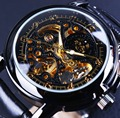 Orkina Reloj de Lujo Hombres Esqueleto Reloj de Cuero Clásico Retro Negro Oro Dial Relogio Masculino masculino Reloj Mecánico Automático