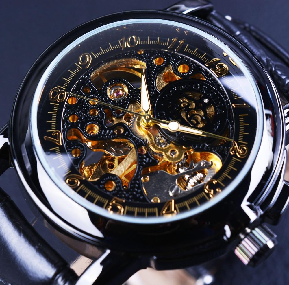 Prix pour Orkina luxe horloge hommes en cuir squelette montre classique rétro noir d'or cadran relogio masculino mâle mécanique automatique montre