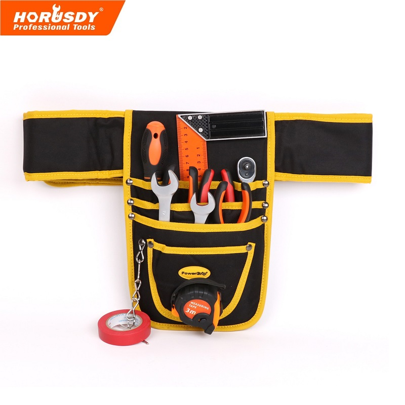 HORUSDY 10 Pocket Tool Pouch Electrician Waterproof Case Hanging Type High Quality Hardware Canvas Construction Tools Belt