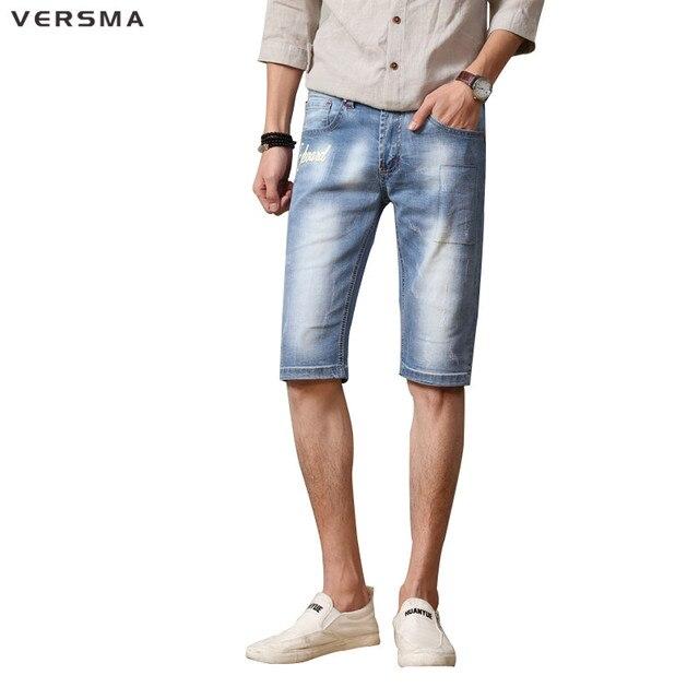 Jeans Korte Broek Heren.Versma Mens Skinny Jongens Jeans Heren Denim Jeans Shorts Skateboard