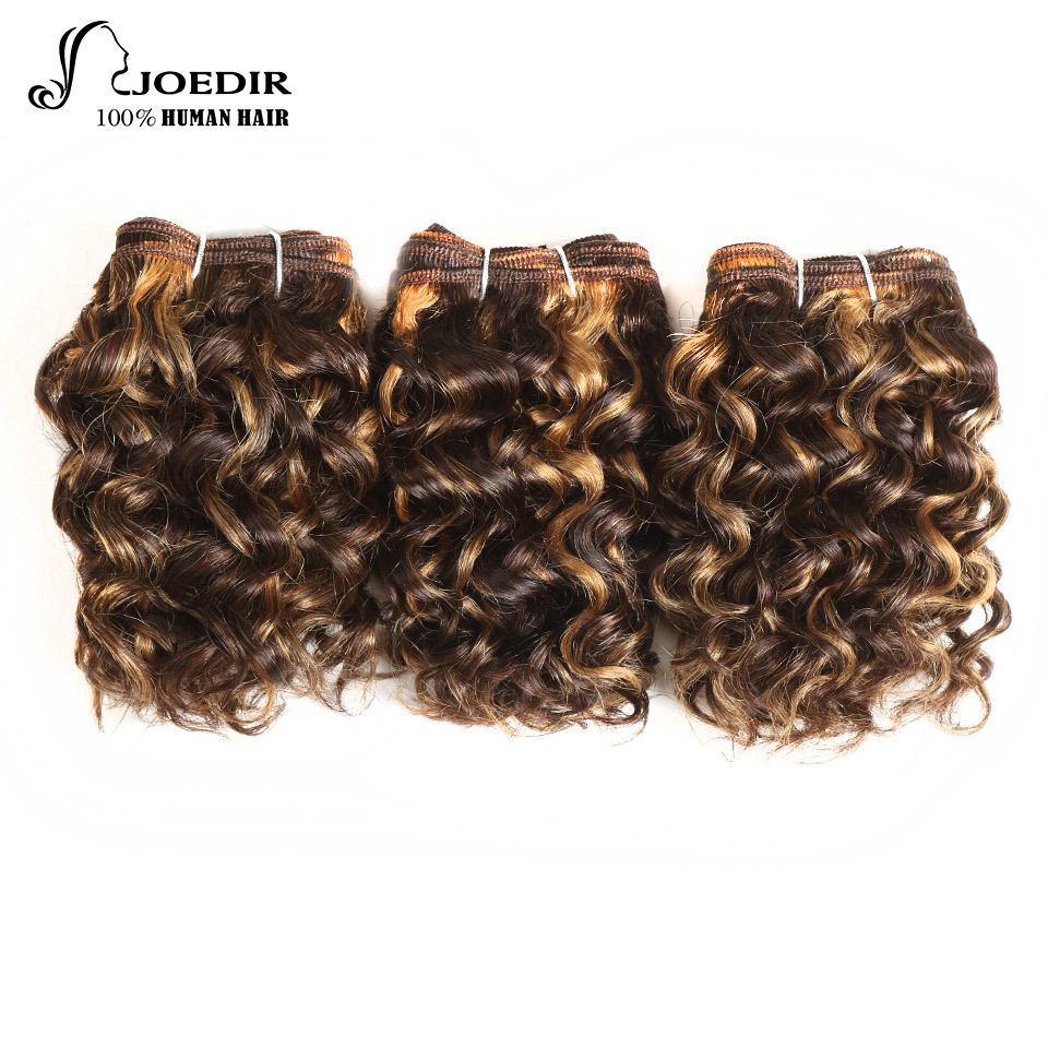 Joedir Hair Pre-Colored Brazilian Human Hair Piano Color 4/27 Sassy Curl 3 Bundles Non Remy Kinky Curly Hair 100G 1 Pack