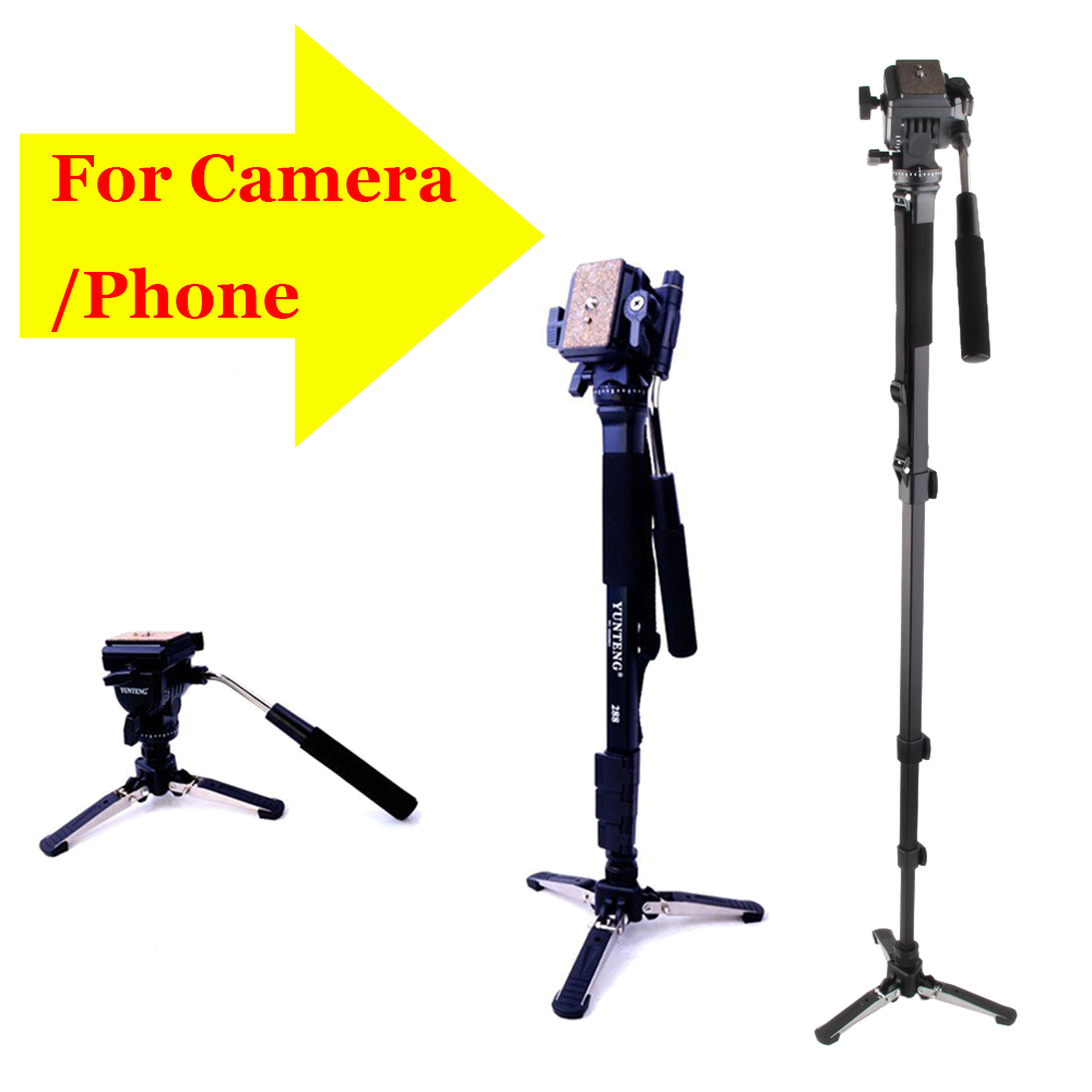 Camera Tripod YUNTENG 288 VCT-288 Professional Tripod Monpod Photography Tripod Head With Unipod Holder for DSLR Camera Phone набор для соли и перца sinoglass подсолнухи тосканы 2 предмета