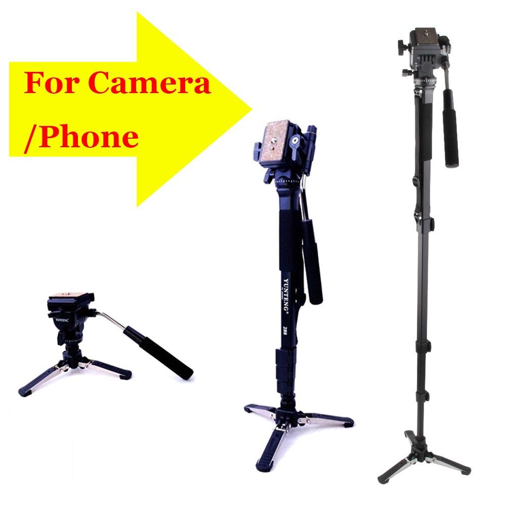 Trépied d'appareil photo YUNTENG 288 VCT-288 trépied professionnel Monpod tête de trépied de photographie avec support Unipod pour téléphone appareil photo DSLR