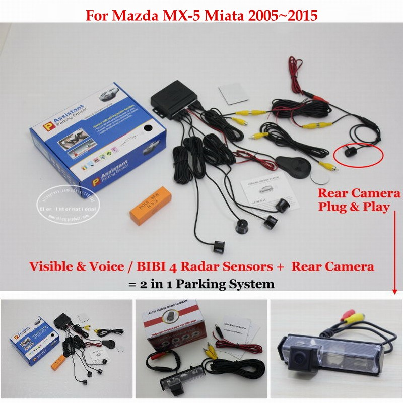 ФОТО For Mazda MX-5 Miata  2005~2015 - Car Parking Sensors + Rear View Back Up Camera = 2 in 1 Visual / BIBI Alarm Parking System