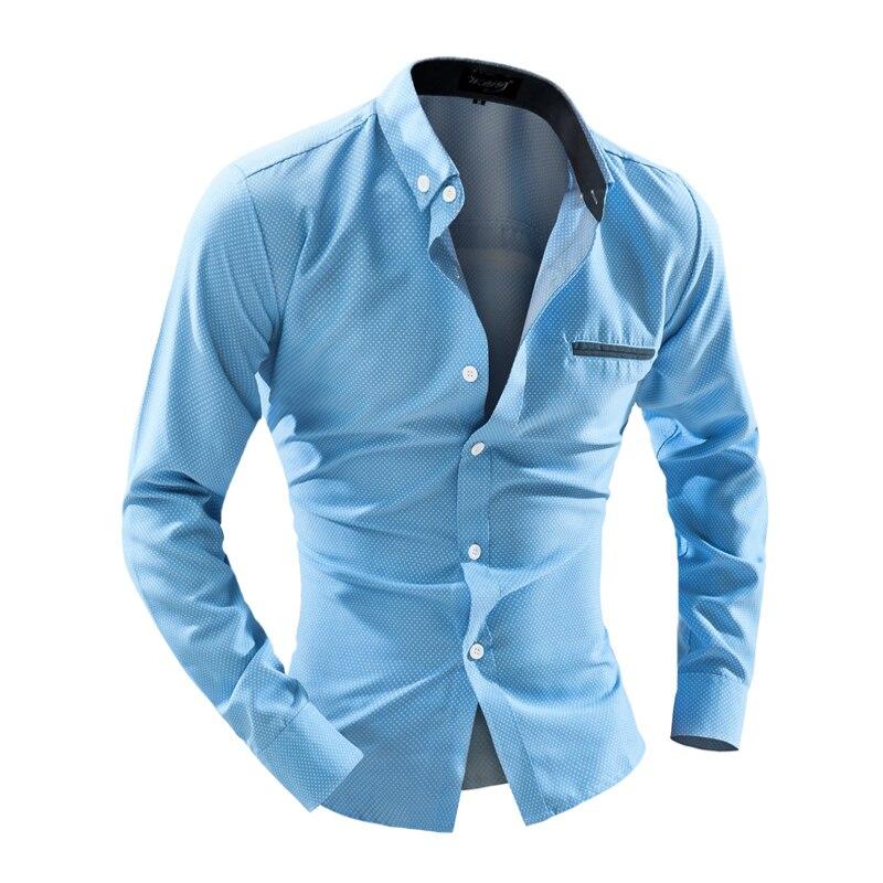 2016 Dress Shirts Mens Polka Dot Shirt Slim Fit Chemise Homme Long sleeve Men Shirt Heren