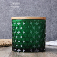 Embossed Glass Seal Canister Thickened Coloured Large Glass Storage Bottle Food Storage Box Dried Fruit Coffee