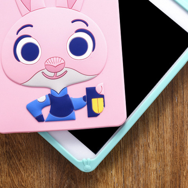 Tablet Case For ipad 2017 9.7 inch Cute Cartoon Rabbit Kids Shockproof Silicone Rubber Stand Back Cover For ipad 2018 Case  (13)