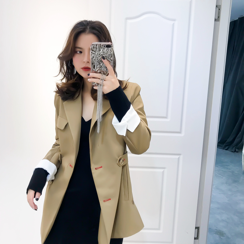 2019 Blazer Cotton Polyester Full Sleeves England Style Button Regular Length Double Breasted Notched Collar Solid Clothing