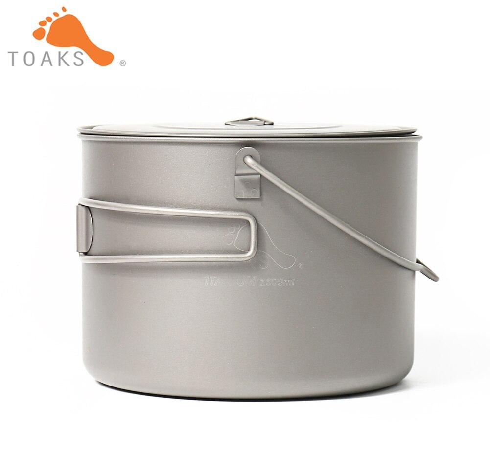 TOAKS POT-1600-BH Pot en titane Camping en plein air vaisselle suspendue avec poignée de caution facile à transporter 1600 ml 210g