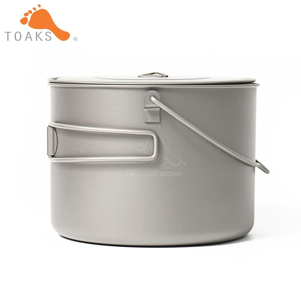 TOAKS POT-1600-BH Titane Pot Camping En Plein Air Suspendus Vaisselle Avec Bail Poignée Facile à Transporter 1600 ml 210g