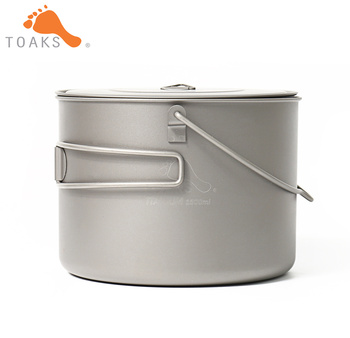TOAKS POT-1600-BH Titanium Pot Outdoor Camping Hanging Tableware With Bail Handle Easy to Carry 1600ml 210g