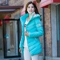 Дешевые оптовая 2017 Горячей плюс размер вниз хлопка Куртка женщин женский тонкий моды причинные средней длины зимняя верхняя одежда теплая пальто