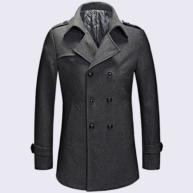 2018 Winter Fashion Gray Men Winter Coat Wool Blend Double Breasted Long Coat Oversize Classic Mens Pea Coat Plus Size M-XXXL(China)