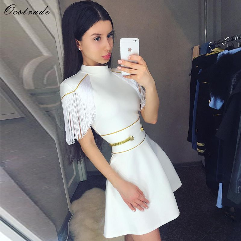 Ocstrade 2019 robe Bandage noël nouvel an fête une ligne Sexy robe Bandage blanc orné Vestidos Bandage robe gland