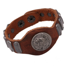 Boho Hippie Punk Brown Real Leather Chiefs Skull Words Tag Stainless Steel Charms Wide Wrap Bracelets