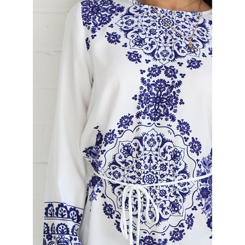 e20d123095eb New summer Women OL Girl Fashion Long Sleeve Blue and White Vintage ...