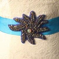 Handmade Wedding Belts White Blue Red Green With Sparking Crystal Rhinestone Cummerbunds Waistband Wedding Evening Dress