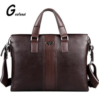 Brand Designer P Kuone Genuine Real Cow Leather Brown Black Business Briefcase Laptop Computer Shoulder Bag