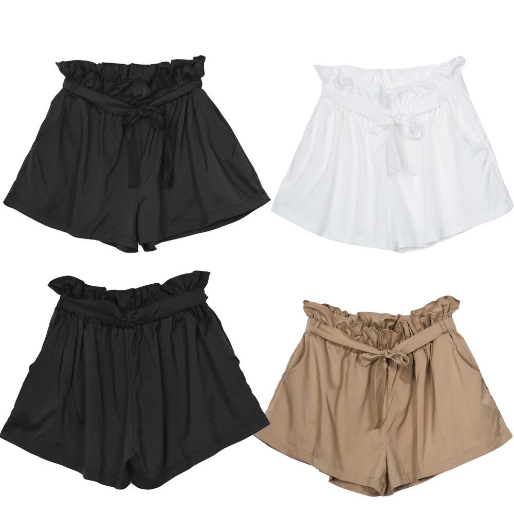 dc09b61b0 Pantalones cortos femeninos de cintura alta pantalones cortos sueltos de  moda para mujer con cinturón pantalones corto mujer diseño informal en  Pantalones ...