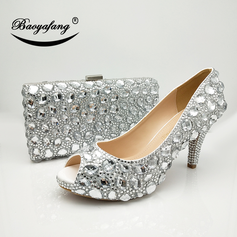 BaoYaFang 2018 New Arrival Silver Crystal Wedding shoes with macthing bags  Peep Toe High shoes Ladies 4b1d4273fe7b