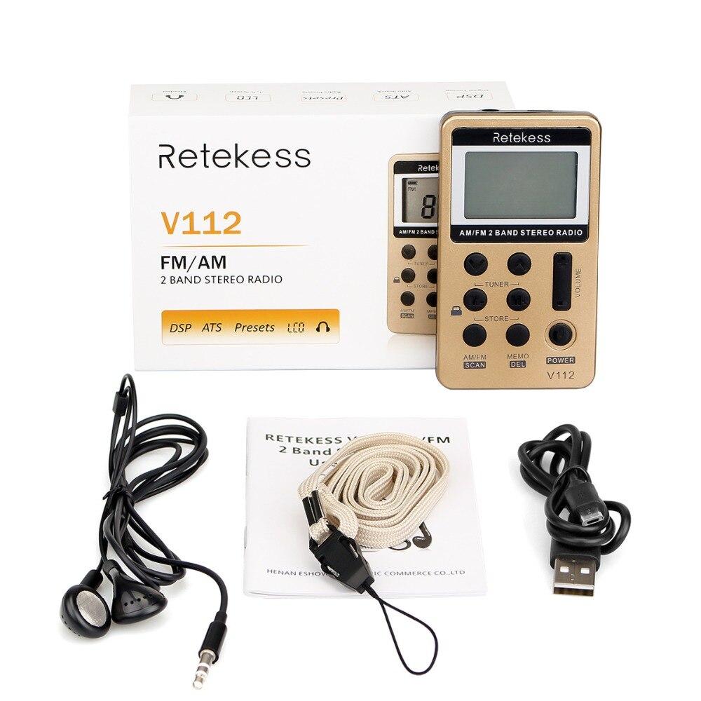 retekess в112 мини карман радио ФМ АМ 2 полосы радиоприемник цифровая настройка с перезаряжаемые батарея и наушники f9202
