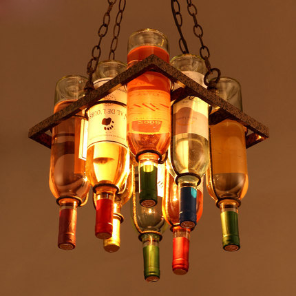 Loft Pendant Lamp Creative Bar Suspension Luminaire Coffee Shop Wine Bottle Personality Vintage Pendant Light Art Deco Lighting loft vintage pendant lamp american style pendant light creative metal crystal suspension luminaire coffee shop art deco lighting