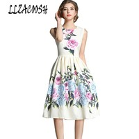 High Quality Dress Summer 2018 New Fashion Runway Women's O Neck Flowers Printed Ball Gown Vest Dress