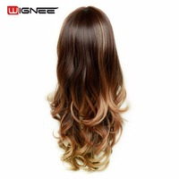 Wignee Synthetic Wig With Bangs For Black White Women Long 24 Heat Resistant 3 Tone Ombre