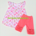 Spring summer girls sleeveless clothing set child pink dolphin pattern boutique outfit wholesale kids clothes