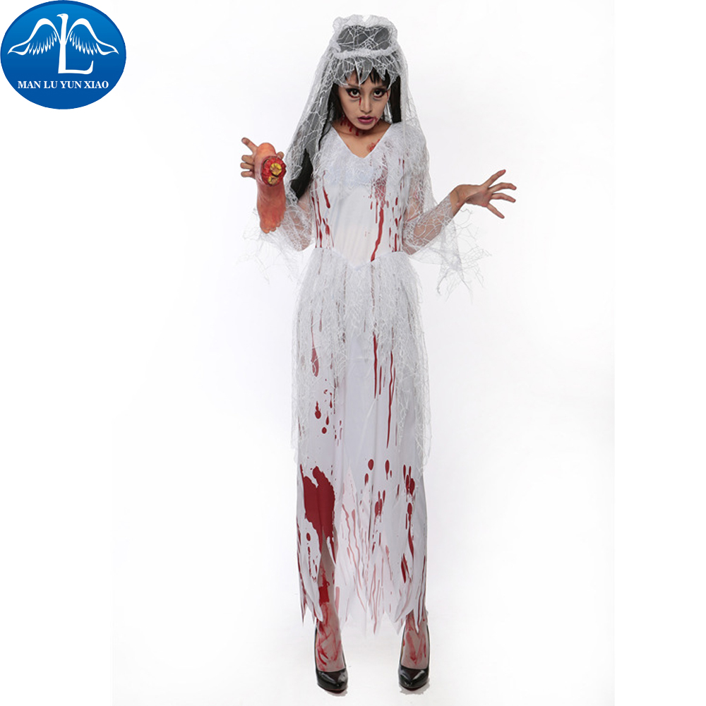 MANLUYUNXIAO Scary Vampire Zombie Cosplay Ghost Bride Costumes And Head Wear Set Halloween Costumes For Women