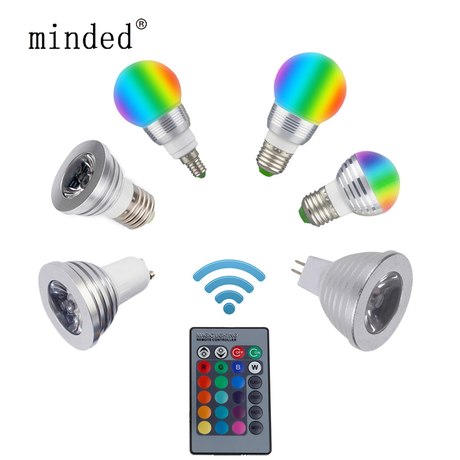 16 Color Changeable RGB Light Bulb E27 E14 RGB <font><b>LED</b></font> Spotlight Bulb GU10 MR16 <font><b>3W</b></font> 85-265V/<font><b>12V</b></font> Home Decoration IR Remote Controller image