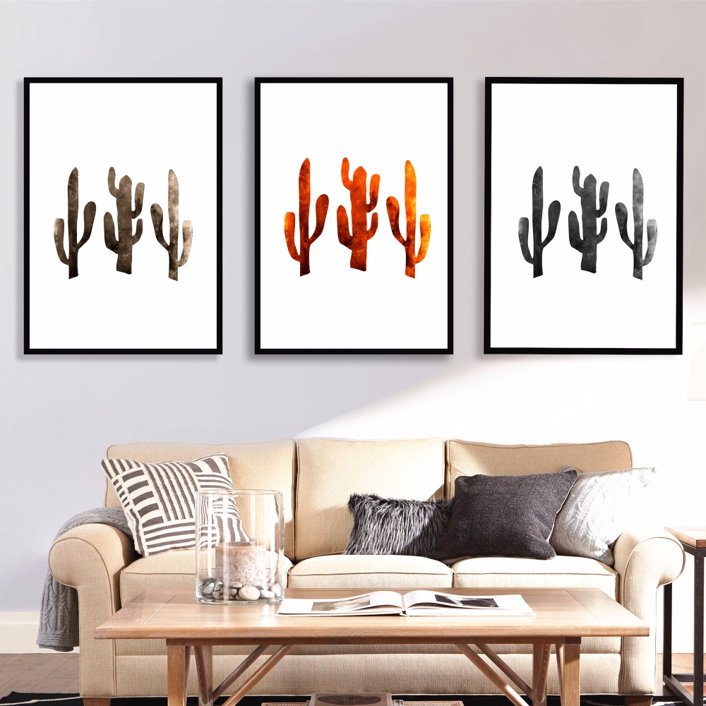 Cactus Graphic Artwork Set Canvas Art Print Painting Poster Wall Pictures For Living Room Home Decorative Decor No Frame