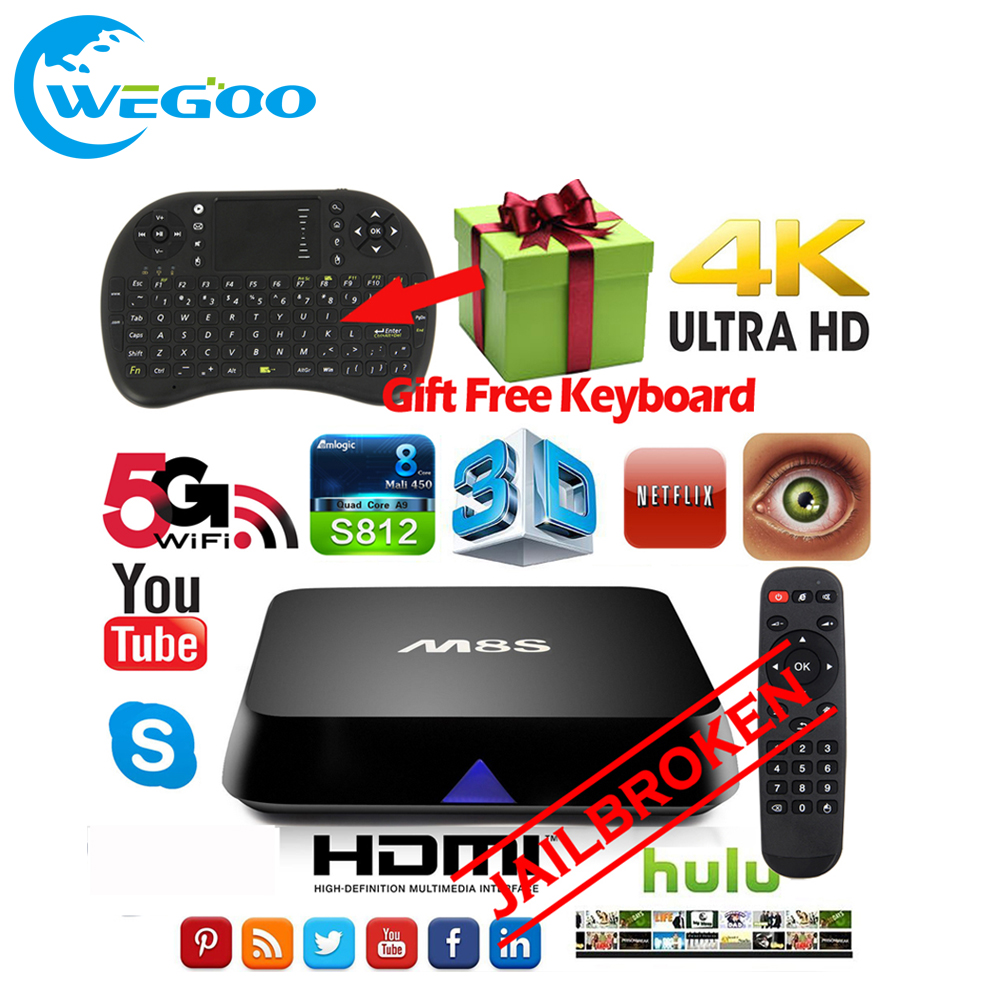 ФОТО WEGOO M8s TV Box Android 4.4 Octa-core Smart JAILBROKEN Set Top Box 2G 8G Dual WIFI 4K Bluetooth HDMI Media player with keyboard