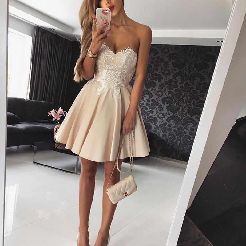 Robe de   cocktail   Sexy Sweetheart Champagne   Cocktail     Dresses   2019 Short Mini Homecoming   Dress   Appliqued Prom Party Gown