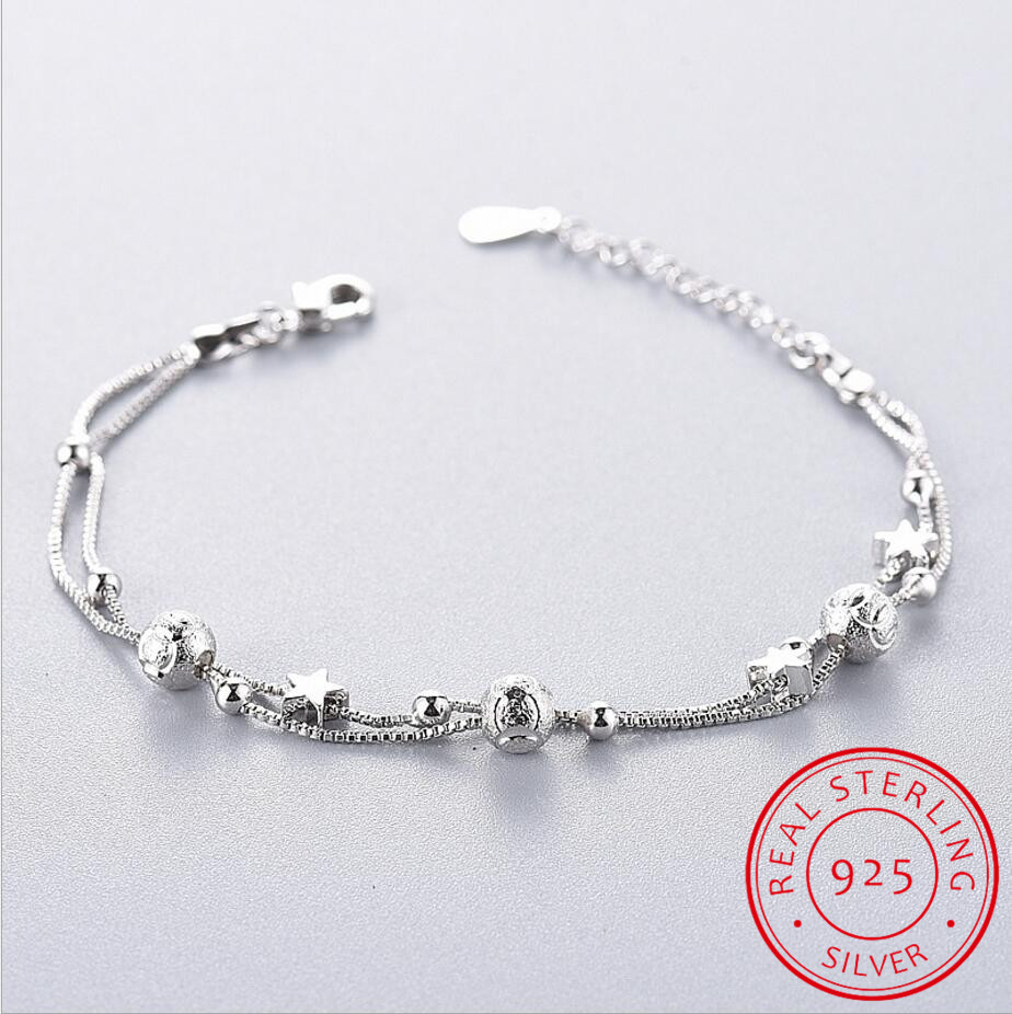 925 Sterling Silver Charms Bracelets Bangles For Women 925 Silver Star Ball Double Layer Chain Link Bracelets Pulseira Feminina