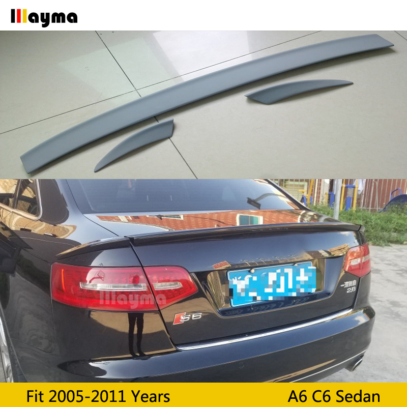 ABT style polyurethane rear trunk spoiler For Audi A6 C6 Sedan 2005-2011 year Car PU spoiler Wing (Not fit sline&s6&rs6) image