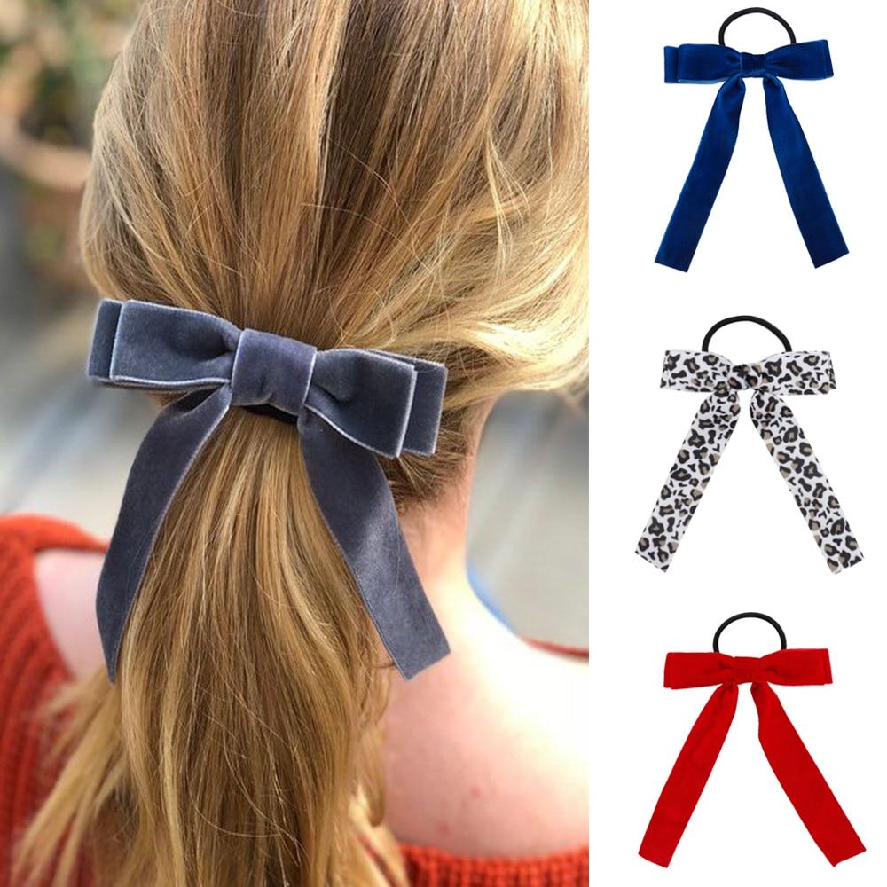 Korean Girl Hair Rope Velvet Scrunchie leopard Elastic Hair Bands For Women Elegant Bow Ties Ponytail Holder Hair Accessories(China)