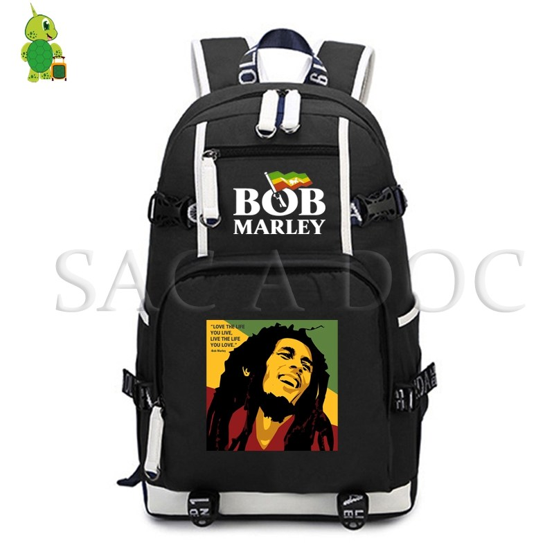 Bob Marley One Love Laptop Backpack Fashion School Bags For Teenage Girls Boys Casual Rucksack Large Capacity Travel Rucksack