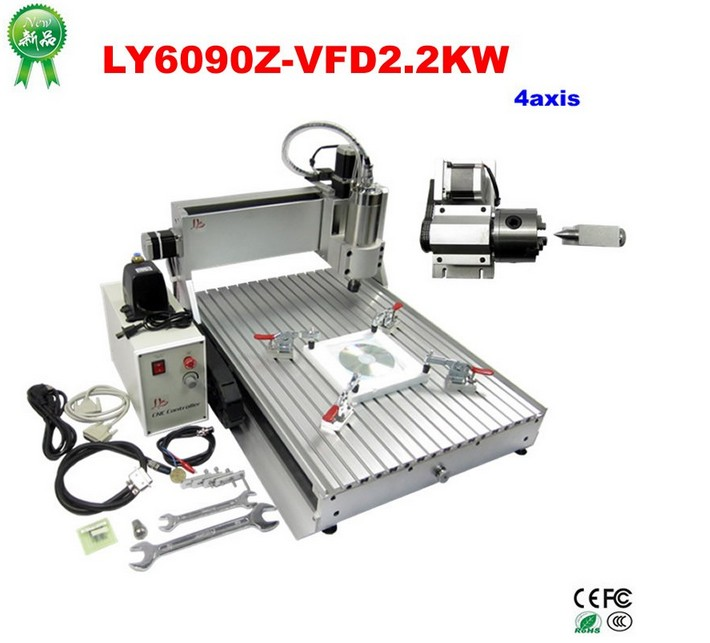 цены  (Russain no tax!) High speed big cnc router 6090, 4 axis cnc cutting machine 2200w for pcb metal stone carving