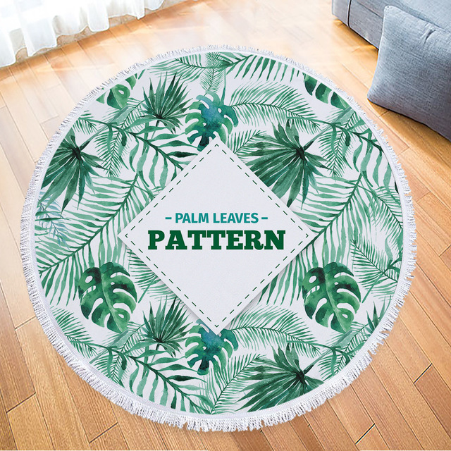 a212ad65243 Summer Tropical Plants English Letter Round Beach Towel For Adult  Microfiber Printed Terry Cloth WithTassels Beach Blanket