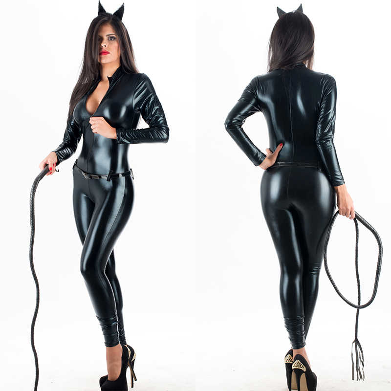 65837240fca Adult Super Hero Cat Women Halloween Costume Sexy Black PU Synthetic  Leather Catwoman Catsuit Jumpsuit Clubwear