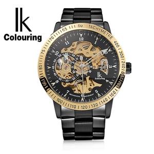 Image 2 - Ikcoloring золотые Роскошные мужские часы с автоматическим скелетом, механические наручные часы, модные повседневные часы из нержавеющей стали