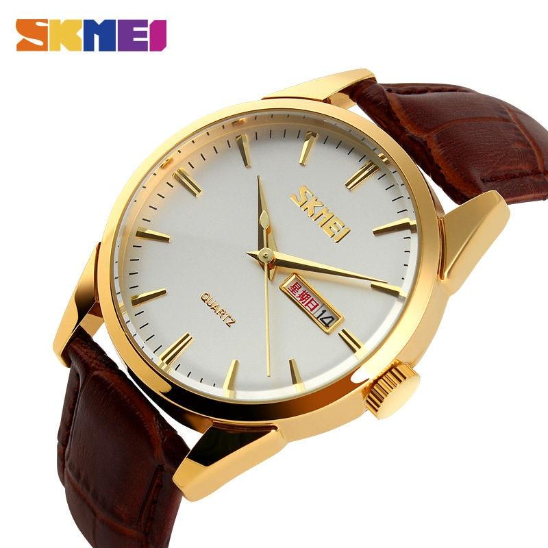 SKMEI Quartz Watches Men Fashion Casual Complete Calendar Watch Alloy Dial 30M Water Resistant Luxury Wristwatches 9073